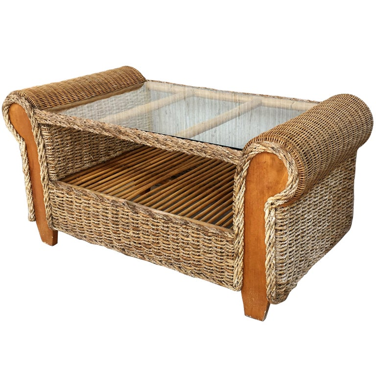 Midcentury Rattan and Wood Coffee Table