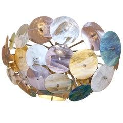Contemporary Italian Yellow White Aqua Blue Murano Glass Oval Sputnik Flushmount