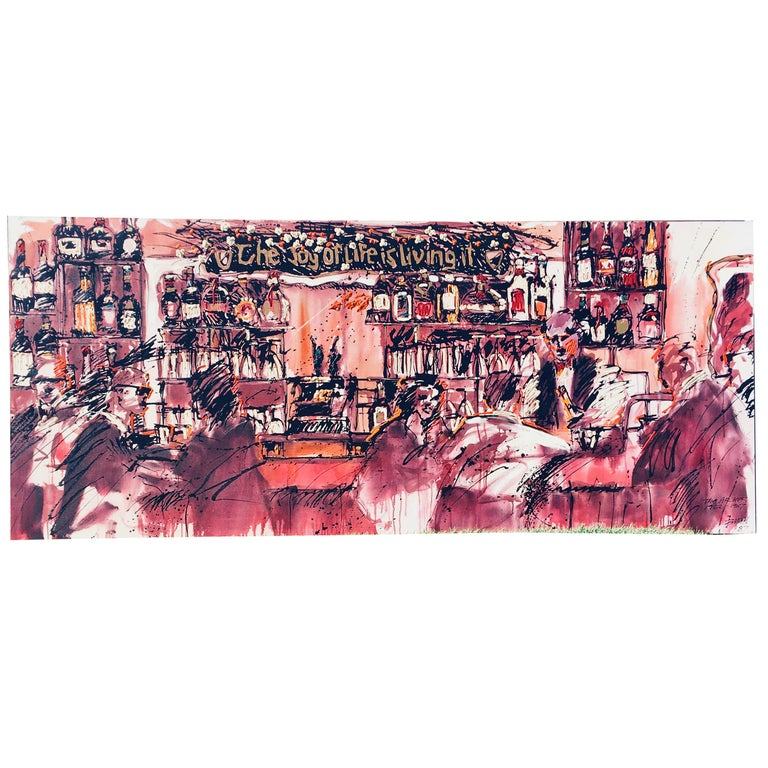 """Huge Newport Beach Bar Painting """"The Arches 1922-1987"""" by Michael Bryan For Sale"""