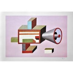 Memphis du Pasquier Print, Large, Pink, Geometric, Ltd. Ed., Signed, Italy, 2008