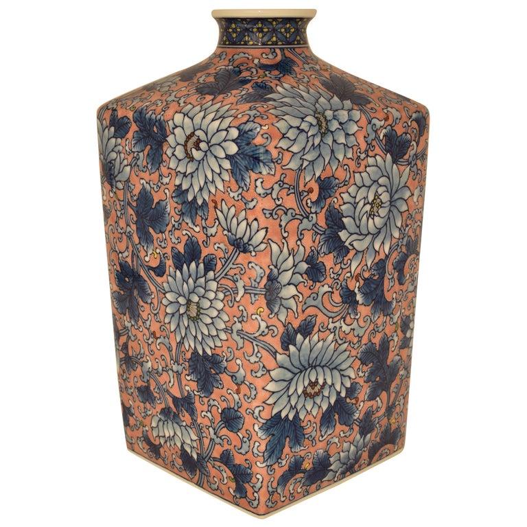 Japanese Imari Gilded Hand-Painted Decorative Porcelain Vase by Master Artist