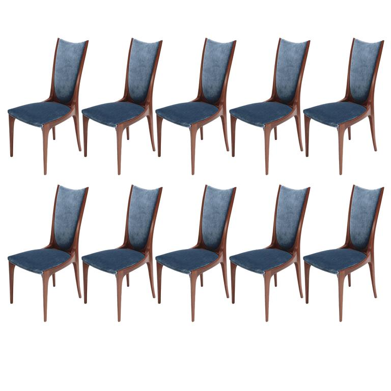 Set of Ten 1960s Brazilian Caviuna Dining Chairs