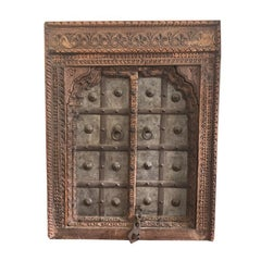 1820s Hand-Carved Middle Eastern Indian Window Salvaged from Fortress