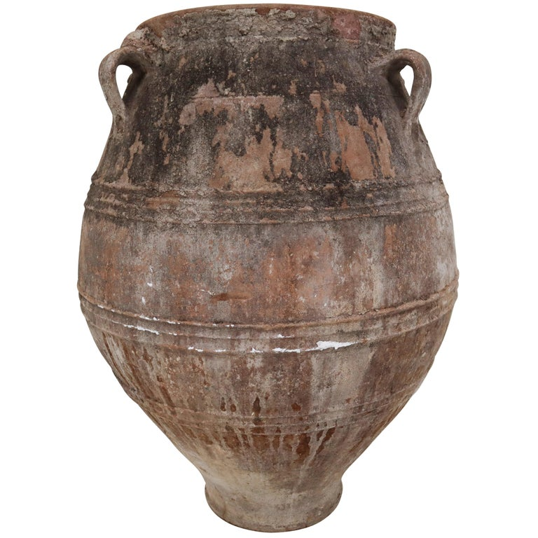 Amazing Big-Size Greek Patinated Terracotta Jar from the Late 19th Century