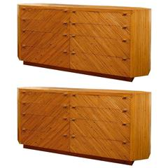 Fabulous Restored Vintage Split Bamboo Ten Drawer Chest