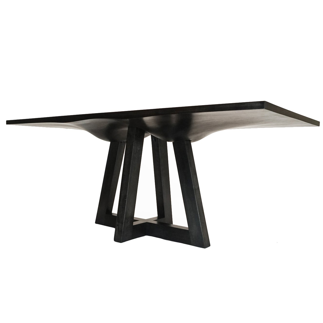 Contemporary Ebonized Dining Table in Carved Walnut