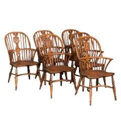 Set of Six English Windsor Elm Armchairs