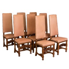 Set of Eight Antique Leather Upholstered High Back Dining Chairs