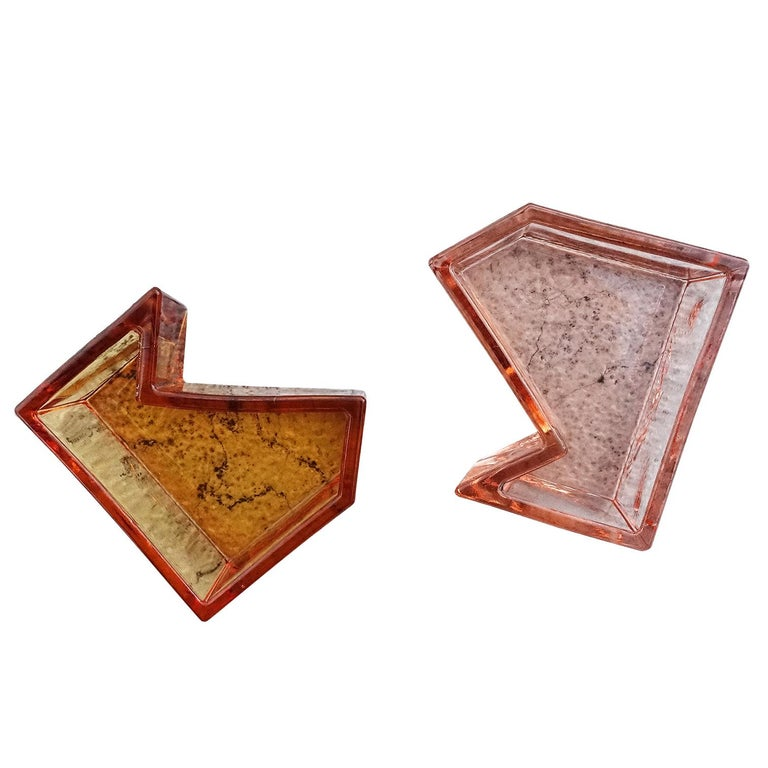 Campbell-Rey Salt and Pepper Holder in Pink and Amber Murano Glass