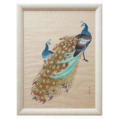 Japanese Showa Period Peacocks Painted on Silk