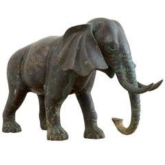 Asian Bronze Elephant Sculpture with Gilt