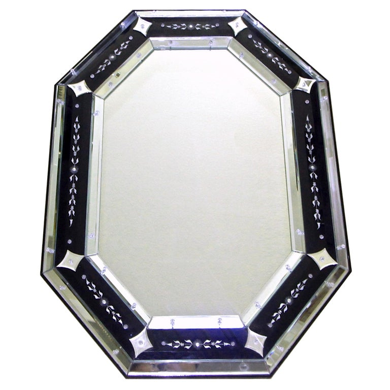 Venetian Etched Glass Octagonal Wall Mirror