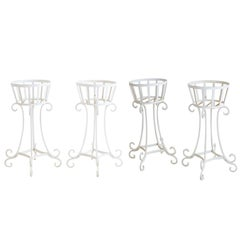 Set of Four Wrought Iron Painted Plant Stands