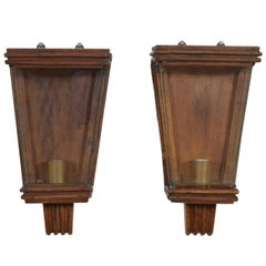 Pair of Italian Oak, Brass, and Glass 1-Light Wall Sconces, Mid-20th Century