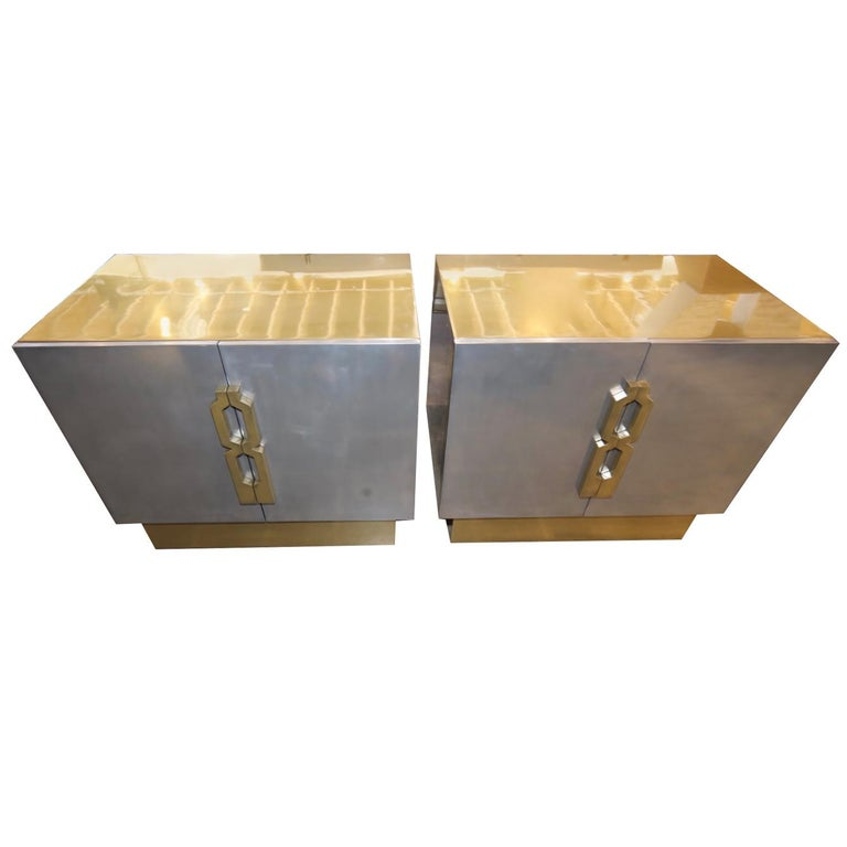 Pair of Geometric Handled Stainless and Brass Nightstands