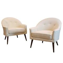 Elegant Midcentury Armchairs in Walnut and Velvet by Harvey Probber, 1950s