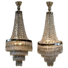 Pair of Three-Light Tent-and-Cascade Chandeliers, circa 1935