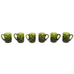 Set of Six Mid Century Modern Demitasse Cups in Emerald Glass
