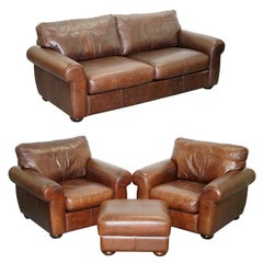 Aged Brown Leather Madison Suite Sofa Pair of Armchairs Footstool Ottoman