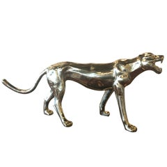Vintage Large Polished Brass Panther Tiger Statue