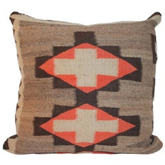 Navajo Indian Weaving Pillow with Leather Back