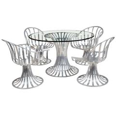 Outdoor/Patio Russell Woodard Polished Aluminum Dining Table, Chairs Set