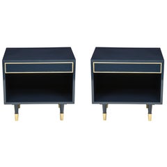 Harvey Probber Midnight Blue Lacquer Nightstands