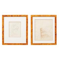 Pair of Ralph DuCasse Greco Roman Drawings