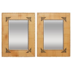 Pair of Bamboo Mirrors with Book Motif