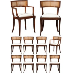 Exquisite Set of Eight (8) Klismos Cane Dining Chairs by Baker, circa 1958