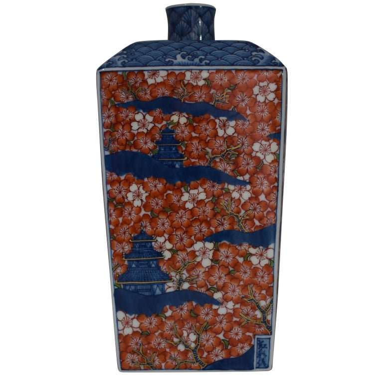 Contemporary Imari Red Blue Porcelain Decorative Vase by Master Artist For Sale