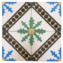 Moroccan Hand-Painted Cement Tile with Traditional Fez Design