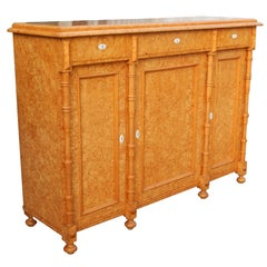 Swedish Sideboard or Storage Cabinet in Golden Birch Root, circa 1880
