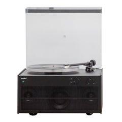 Modern Record Player Black Tabletop Setup