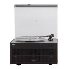 Modern Record Player Black Anodized Aluminum Tabletop Setup with Airport Express