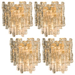 One of Four Kalmar Ice Glass Wall Sconces by J.T. Kalmar, Austria, 1970s