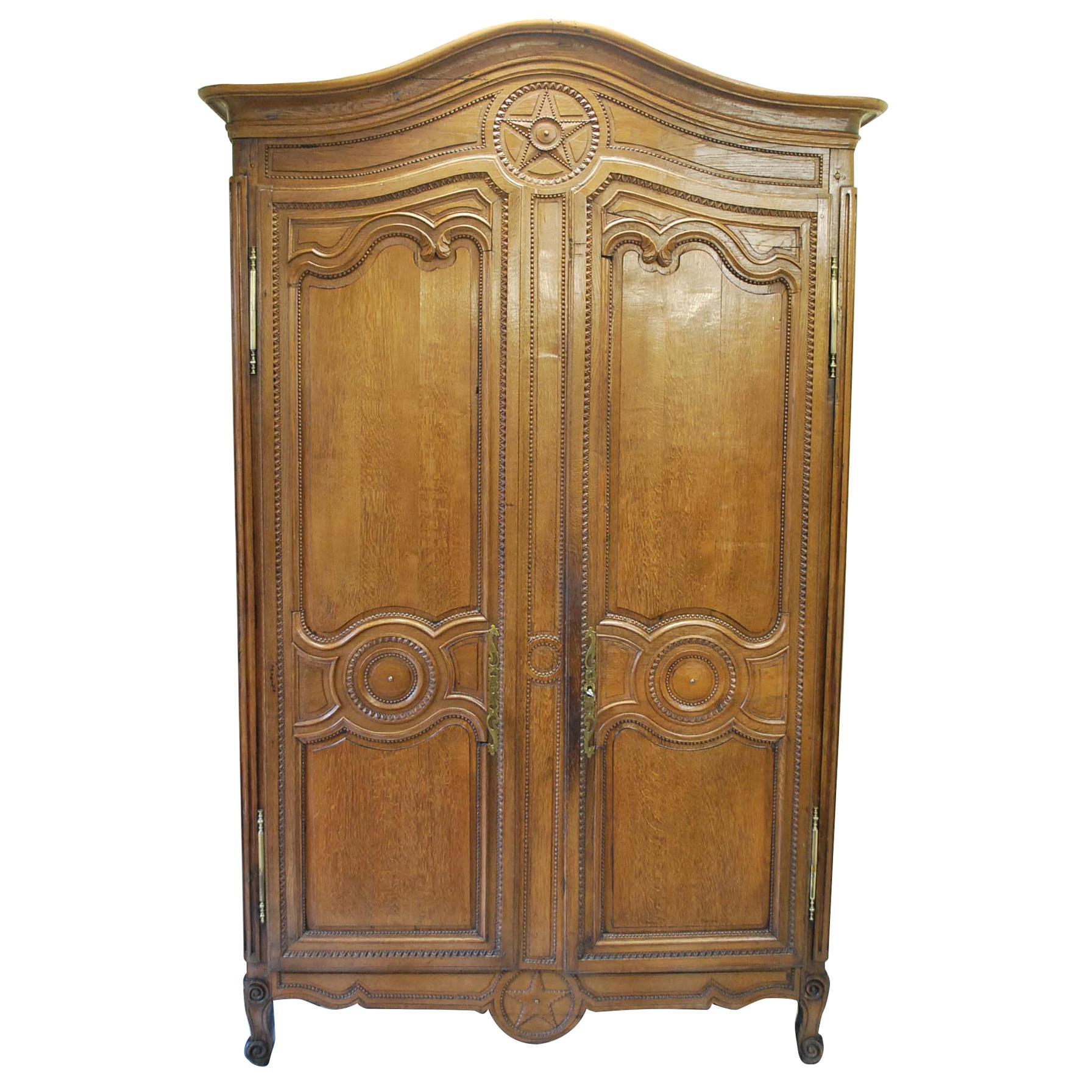Antique Carved Oak French Armoire