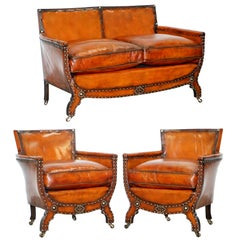 Studded Edwardian Restored Whisky Brown Leather Tub Club Suite Sofa & Armchairs