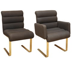 Set of Six Channel Upholstered Brass Dining Chairs