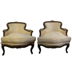 Pair of 19th Century French Louis XV Style Painted and Gilt Wood Bergères