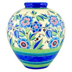 "Art Deco Vase with Flowers by Boch Freres Keramis Belgium 1931 H. 14.6"""