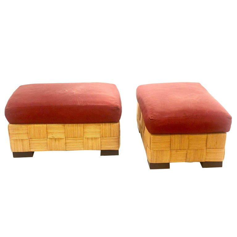 John Hutton for Donghia Pair of Wicker Ottomans in Red Leather For Sale