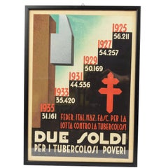 1930s Italian Sketch of a Poster Against Tuberculosis