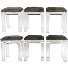 Set of Six Vintage Lucite  Hair Hide Counter Stools
