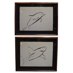 Set of Two Marine Life Brush Art by Wyland