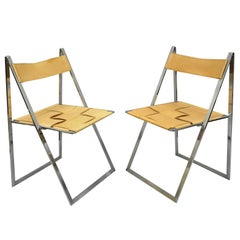 Pair of Fontoni & Geraci Elios Folding Chairs Italian Modern Chrome & Leather A