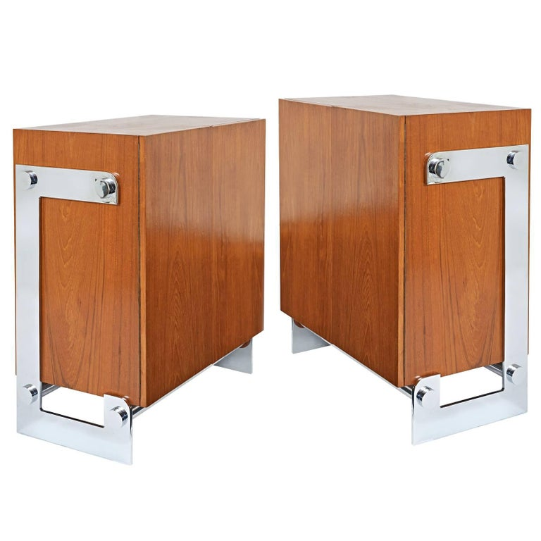 Pair of French 1970s Modernist Walnut Cabinets by Gilles Bouchez For Sale