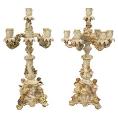 Pair of Antique Meissen Candelabras, Germany, circa 1910