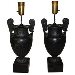 Pair of French Greek Neoclassical Style Spelter White Metal Urn Lamps circa 1920