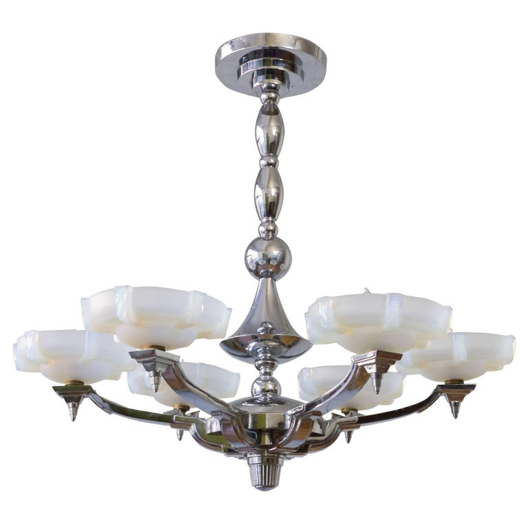 1930s French Art Deco Chandelier by Petitot